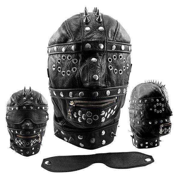 BDSM Kopfmaske aus Leder mit Nieten