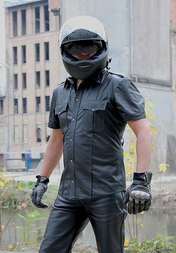 Lederhemd Kurzarm Police Stil