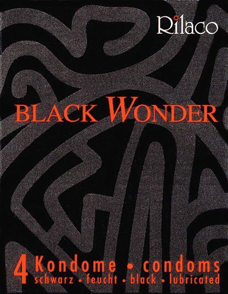 Kondom Black Wonder 4 Stück schwarze Kondome Rilaco